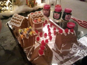 Decorating gingerbread town